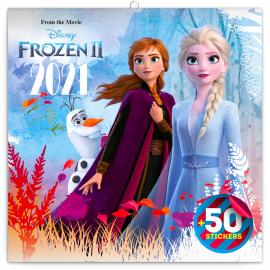 Poznámkový kalendář Frozen – Ledové království II 2021, s 50 samolepkami, 30 × 30 cm