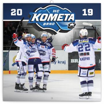 Poznámkový kalendář HC Kometa Brno 2019, 30 x 30 cm