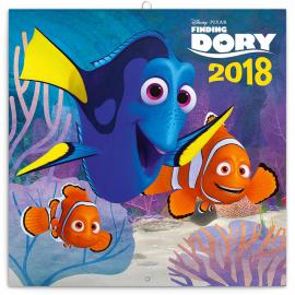 Poznámkový kalendář Hledá se Dory 2018, s pexesem, 30 x 30 cm
