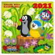 Poznámkový kalendář Krteček 2021, s 50 samolepkami, 30 × 30 cm