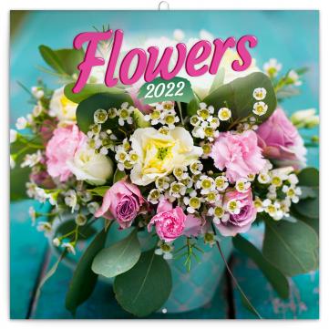 Poznámkový kalendář Květiny 2022, 30 × 30 cm