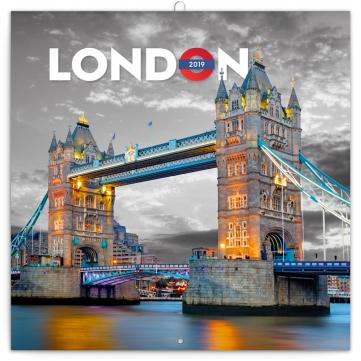 Poznámkový kalendář Londýn 2019, 30 x 30 cm