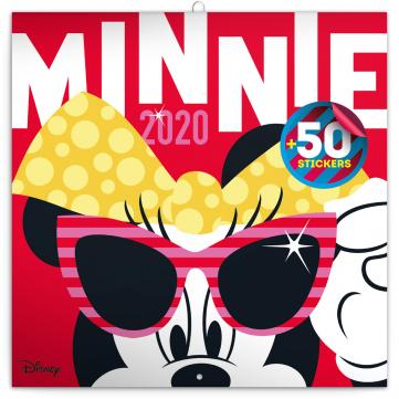 Poznámkový kalendář Minnie 2020, s 50 samolepkami, 30 × 30 cm