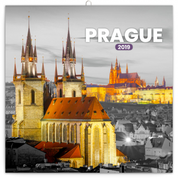 Poznámkový kalendář Praha černobílá 2019, 30 x 30 cm