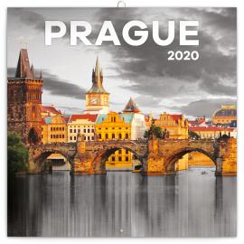 Grid calendar Prague black and white 2020, 30 × 30 cm