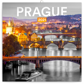 Grid calendar Prague Black and White 2021, 30 × 30 cm