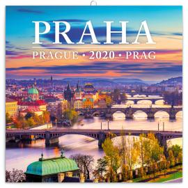 Poznámkový kalendář Praha mini 2020, 18 × 18 cm