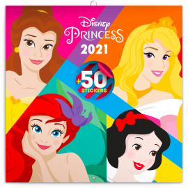 Poznámkový kalendář Princezny 2021, s 50 samolepkami, 30 × 30 cm