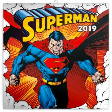 Poznámkový kalendář Superman 2019, 30 x 30 cm