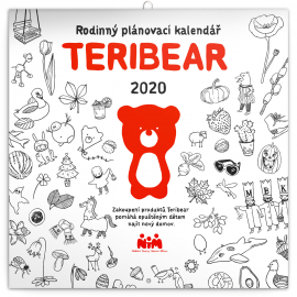 Rodinný plánovací kalendář Teribear 2020, 30 × 30 cm