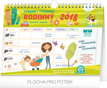 Rodinný plánovací kalendář s háčkem 2018, týdenní, 30 x 21 cm