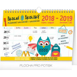 Weekly school planner with hook 2019, 30 x  21 cm