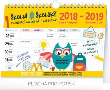 Školní plánovací kalendář s háčkem 2019, 30 x 21 cm
