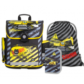 BAAGL SET 3 Digger: school bag, school pencil case, gym sack