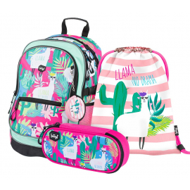 BAAGL SET 3 Llamas: school bag, school pencil case, gym sack