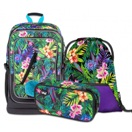 BAAGL SET 3 Tropica: school bag, school pencil case, gym sack