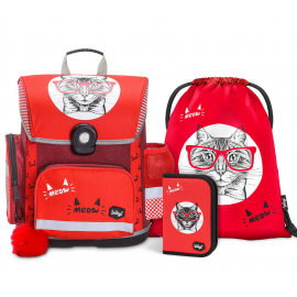 BAAGL SET 3 Cat: school bag, school pencil case, gym sack