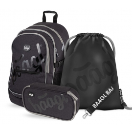 BAAGL SET 3 Black: school bag, school pencil case, gym sack