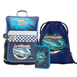 BAAGL SET 3 Racer: school bag, school pencil case, gym sack
