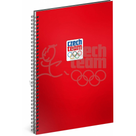 Spiral notebook Czech team, red, unlined, A4