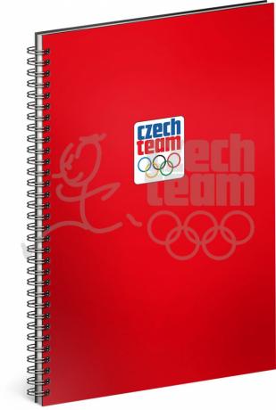 Spirálový blok Český olympijský tým, červený, linkovaný, A4