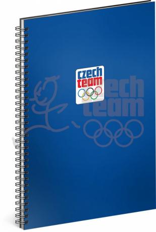 Spirálový blok Český olympijský tým, modrý, linkovaný, A4