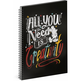 Spiral notebook Mickey – Creativity, lined, A5