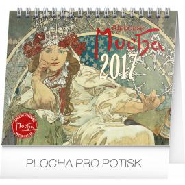 Stolní kalendář Alfons Mucha 2017, 16,5 x 13 cm