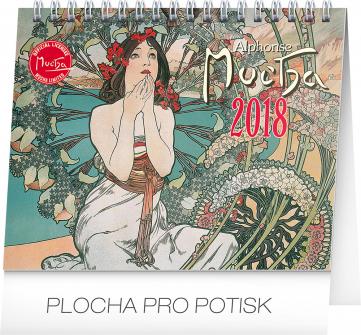 Stolní kalendář Alfons Mucha 2018, 16,5 x 13 cm