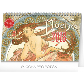 Stolní kalendář Alfons Mucha 2018, 23,1 x 14,5 cm