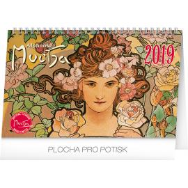 Desk calendar Alphonse Mucha 2019, 23,1 x 14,5 cm