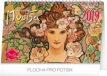 Stolní kalendář Alfons Mucha 2019, 23,1 x 14,5 cm