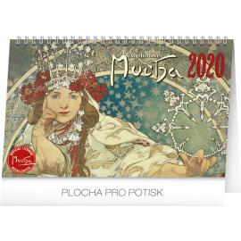 Stolní kalendář Alfons Mucha 2020, 23,1 × 14,5 cm