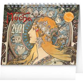Stolní kalendář Alfons Mucha 2021, 16,5 × 13 cm