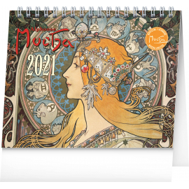 Desk calendar Alphonse Mucha 2021, 16,5 × 13 cm