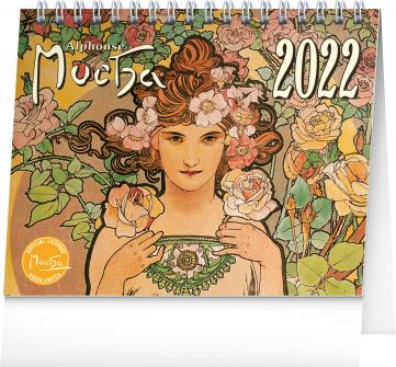 Stolní kalendář Alfons Mucha 2022, 16,5 × 13 cm