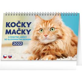 Stolní kalendář Kočky – Mačky CZ/SK 2022, 23,1 × 14,5 cm