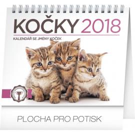 Stolní kalendář Kočky – se jmény koček 2018, 16,5 x 13 cm