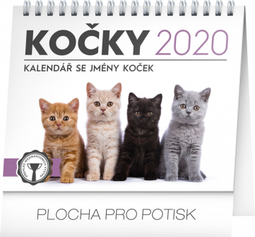 Stolní kalendář Kočky – se jmény koček 2020, 16,5 × 13 cm
