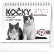 Stolní kalendář Kočky – se jmény koček 2021, 16,5 × 13 cm