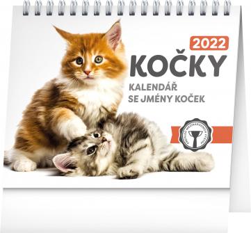 Stolní kalendář Kočky – se jmény koček 2022, 16,5 × 13 cm
