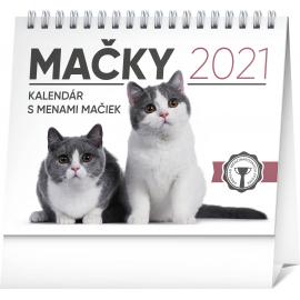Stolní kalendář Mačky – s menami mačiek SK 2021, 16,5 × 13 cm