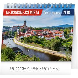 Stolní kalendář Nejkrásnější místa Čech a Moravy 2018, 16,5 x 13 cm