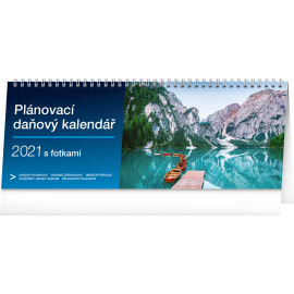 Desk calendar Weekly planner with taxes photographic 2021, 33 × 12,5 cm