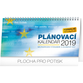 Desk calendar Weekly planner – with international days 2019, 25 x 12,5 cm
