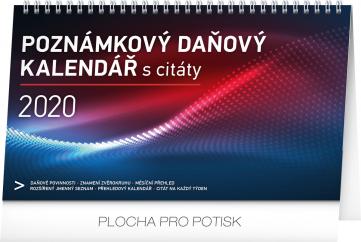 Stolní kalendář Poznámkový daňový s citáty 2020, 25 × 14,5 cm