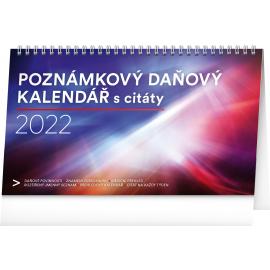 Stolní kalendář Poznámkový daňový s citáty 2022, 25 × 14,5 cm