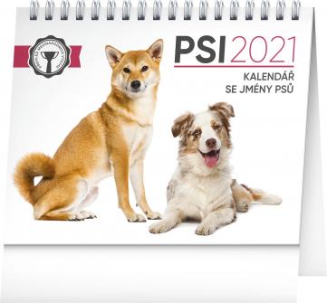 Stolní kalendář Psi – se jmény psů 2021, 16,5 × 13 cm, 16,5 × 13 cm
