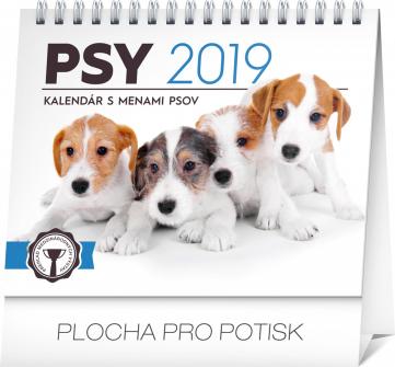 Stolní kalendář Psy – s menami psov SK 2019, 16,5 x 13 cm