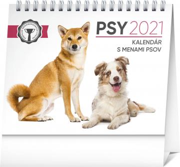 Stolní kalendář Psy – s menami psov SK 2021, 16,5 × 13 cm